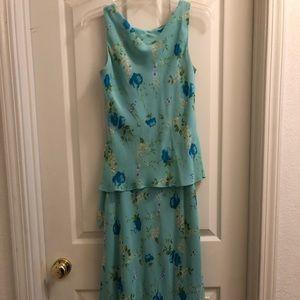 DAVID WARREN teal petite medium dress